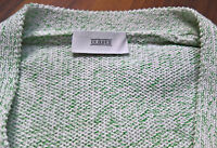 Closed Strickjacke Pullover Gr S weiß / grün dicker Grobstrick
