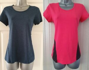 NEW M/&S Active Sportswear UK 12 Black Soft Stretch Sports Top T-Shirt Yoga