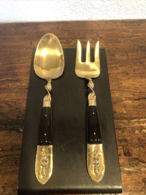 Vintage Buddha Brass & Wood Serving Spoon Fork Salad Utensils Siam Thai Set