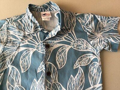 Boy's Hawaiian Nui Nalu Sz 4 Cotton Blue Leaf Coconut Buttons
