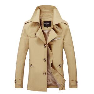 1a5d427b662 2019 Fashion Men s Winter Slim Long Vogue Trench Jacket Coat ...