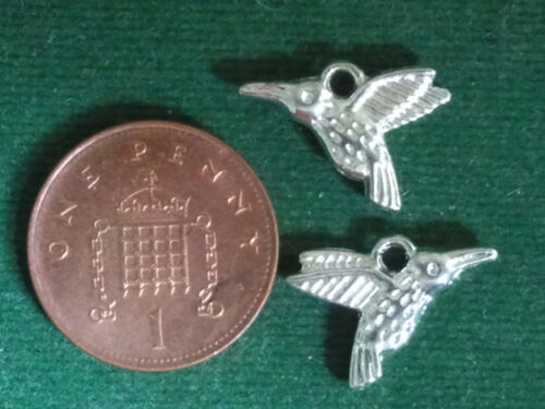BUY 4 GET 1 FREE 10 Humming Bird Charms double sided Garden Nature bright