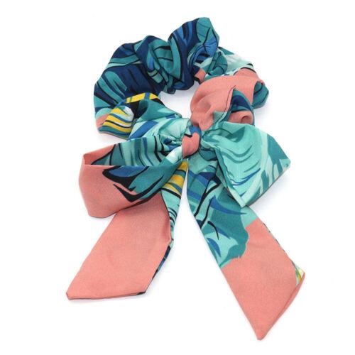 Frauen Chiffon Bow Long Ribbon Haarschal Elastic Scrunchie Gummiseil Haargummis