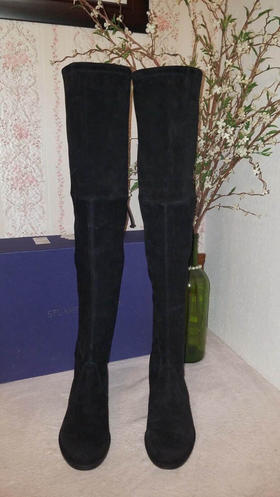 Stuart Weitzman Llanura Encima De La Rodilla Bota (mujeres) Gamuza Negra Talla 8.5 m  798