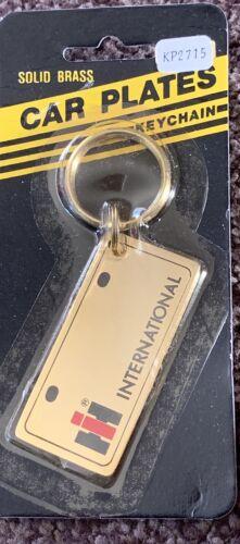 Vtg Retro 1980's International Harvest Keychain Solid Brass NOS License Plate