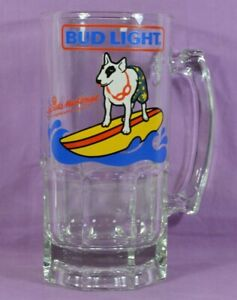 Vtg-1987-SURFING-DOG-Spuds-Mackenzie-Bud-Light-HUGE-Giant-32oz-Beer-Glass-Mug