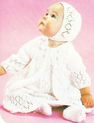 LACY LAYETTE SET  sizes birth to 6 months / 4ply - COPY baby knitting pattern