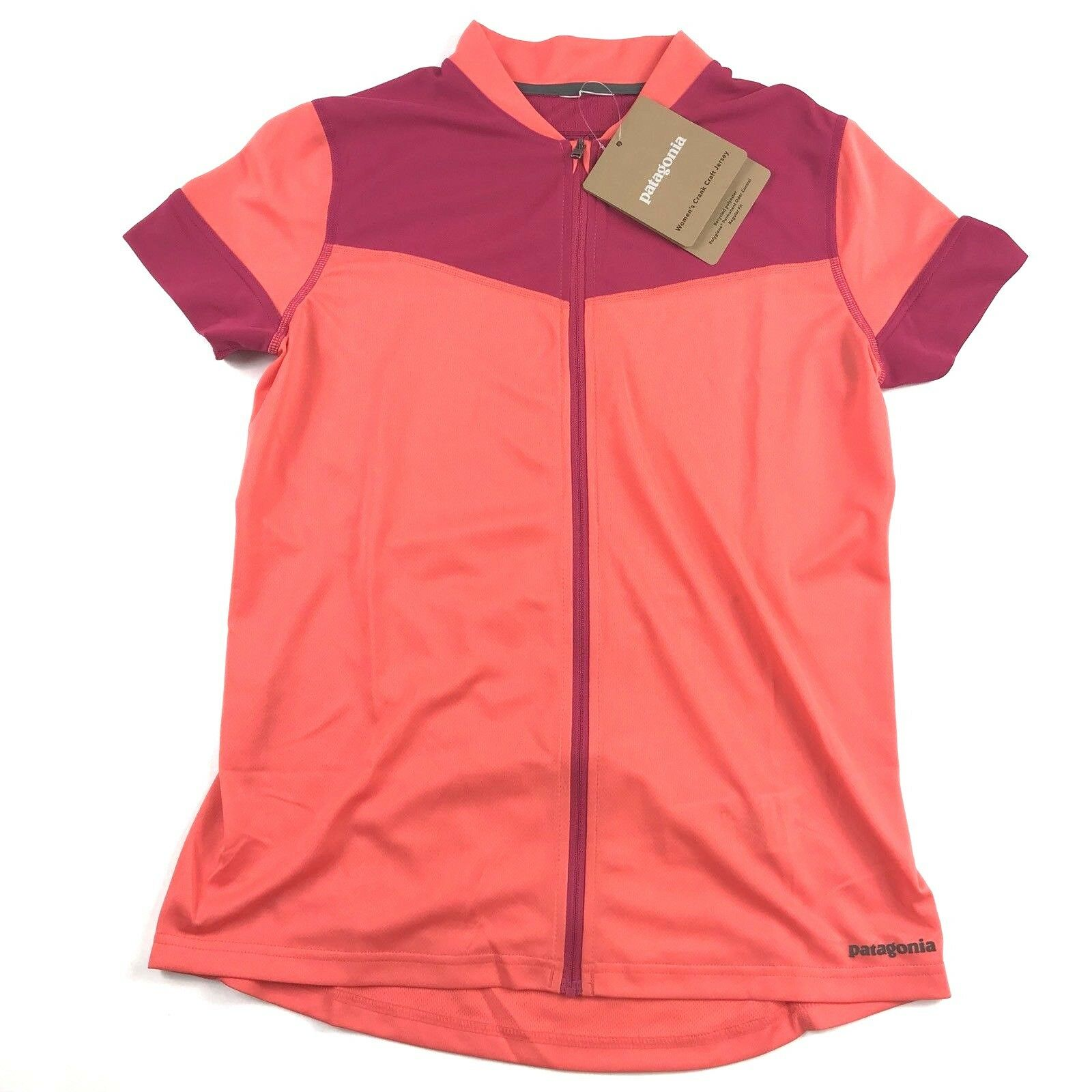 New Patagonia Womens Crank Craft Jersey Sz Small Full Zip Carve Coral Cycling