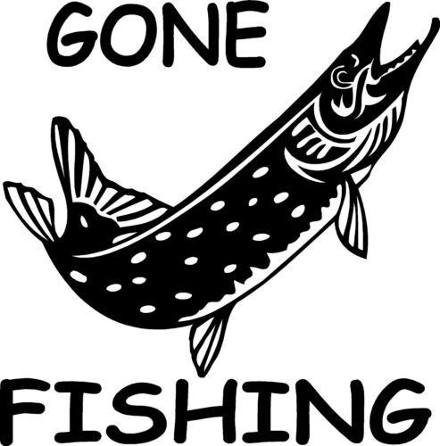 8/'/' Gone fishing Pike sticker car// van decal graphic window //body panel
