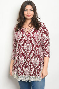 542dbe18c89 Women's Plus Size Maroon and Ivory Floral Lace Accent Tunic Top 1X ...