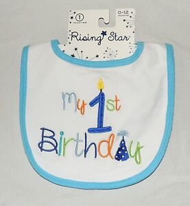 Image Is Loading New Baby My 1st Birthday Bib First Boy