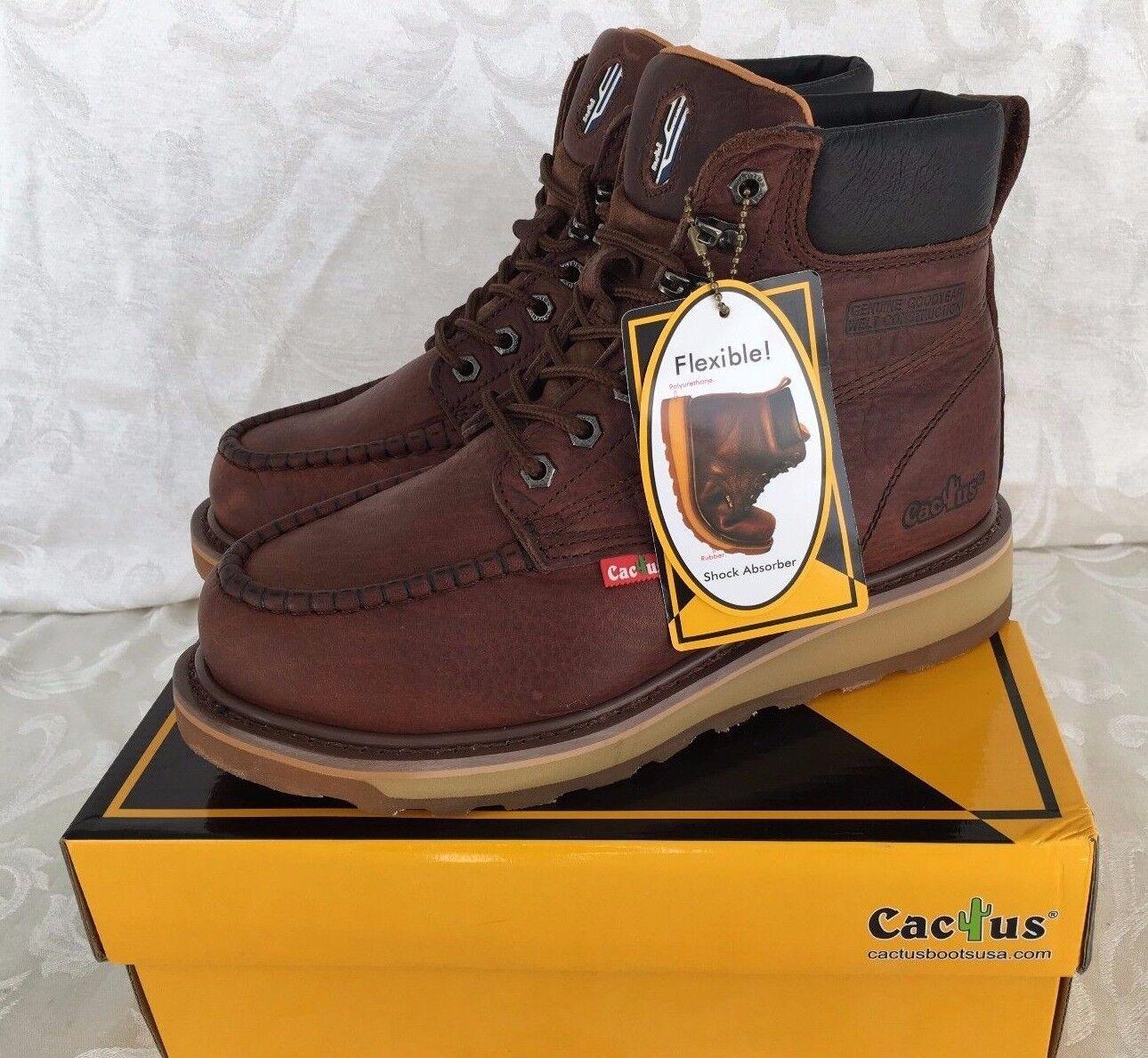 Cactus Hombres Cuero Marrón Oscuro 6  botas de trabajo resistente al aceite Amortiguador Flexible 627 M