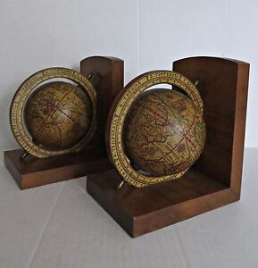 Vtg pair old world map globe bookends spinning rotating wood base vtg pair old world map globe bookends spinning gumiabroncs Gallery