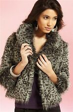 LIPSY SIZE 10-12 FAUX FUR GREY SHAGGY LEOPARD PRINT JACKET WOMENS LADIES AT NEXT