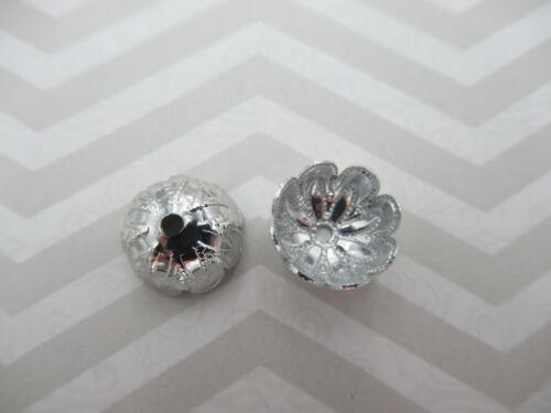 Vintage Silver Petal Bead Caps 10mm Wide X 5mm Deep Filigree Lightweight Qty 24