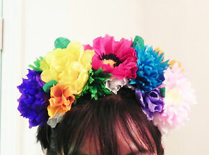 Mexican crepe paper flower headpiece headband cinco de mayo image is loading mexican crepe paper flower 034 headpiece headband cinco mightylinksfo