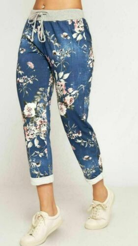 Women/'s Ladies Floral Flower Check Printed HighRise Jogger Trousers Pants Bottom