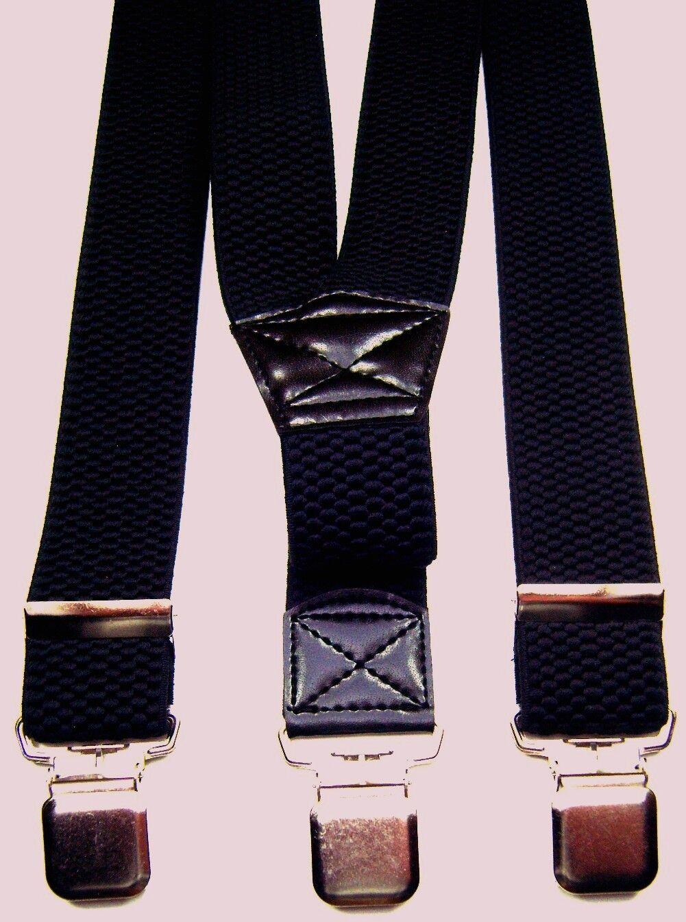 schwarzer Vollmetallcliphosenträger für Biker ,ca.115 cm lang,40 mm breit