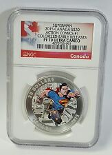 2015 Canada $20 Superman Action Comics #1 Colorized ER U/C PF 70 Silver Coin