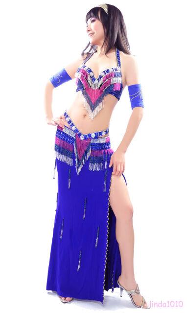 New Belly Dance Costume 2 Pics Bra&Belt 34B/C 36B/C 38B/C 10 colors