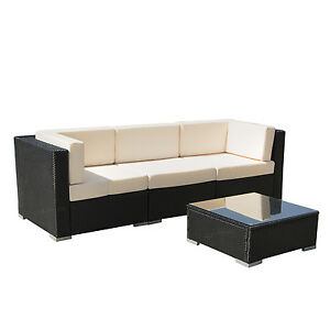 4pc Outdoor Wicker Patio Sofa Set Rattan Sectional