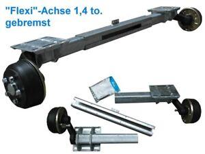 1,4 to. Flexi-Achse gebremst - verstellbare Bremsachse Anhänger - AM 1300-2000mm