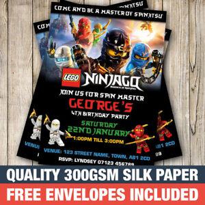 Personalised Ninjago Birthday Party Invitations Invites With Free