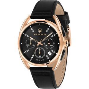 Mens Wristwatch MASERATI TRIMARANO R8871632002 Chrono Leather Black Rose Gold