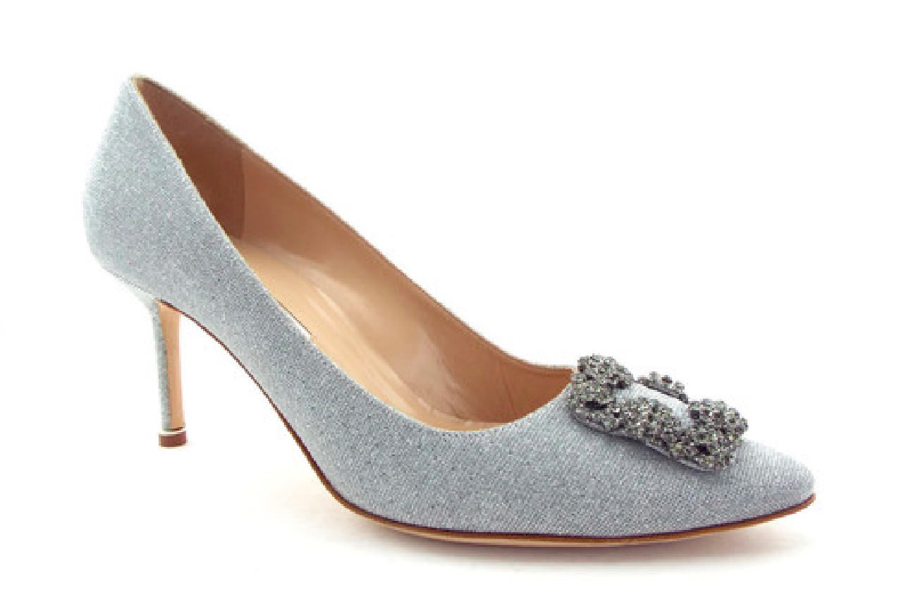 Manolo Blahnik Hangisi 70 Jeweled Pump argent Fabric Taille 36  995