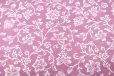 PINK FLORAL VINES FLOWERS FLANNEL FABRIC 100% COTTON SEWING QUILTING SOLD BTY