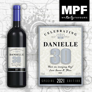 Personalised Birthday Wine Champagne Bottle Label 18th, 21st, 30th, 40th SILVER