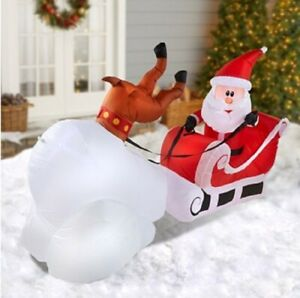 Christmas-Inflatable-8-039-Crashing-Santa-amp-Reindeer-Airblown-Decoration-By-Gemmy