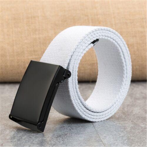 Men Women Automatic Imitation Nylon Belt Buckle Military Tactical Canvas Belt