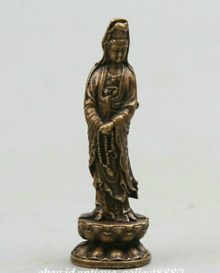2-034-Chinese-Bronze-Buddhism-Stand-Lotus-Kwan-yin-Guan-Yin-Goddess-Small-Statue