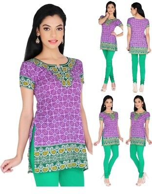 Women Casual Indian Short Kurti Tunic Kurta Top Shirt Dress 164A UK STOCK