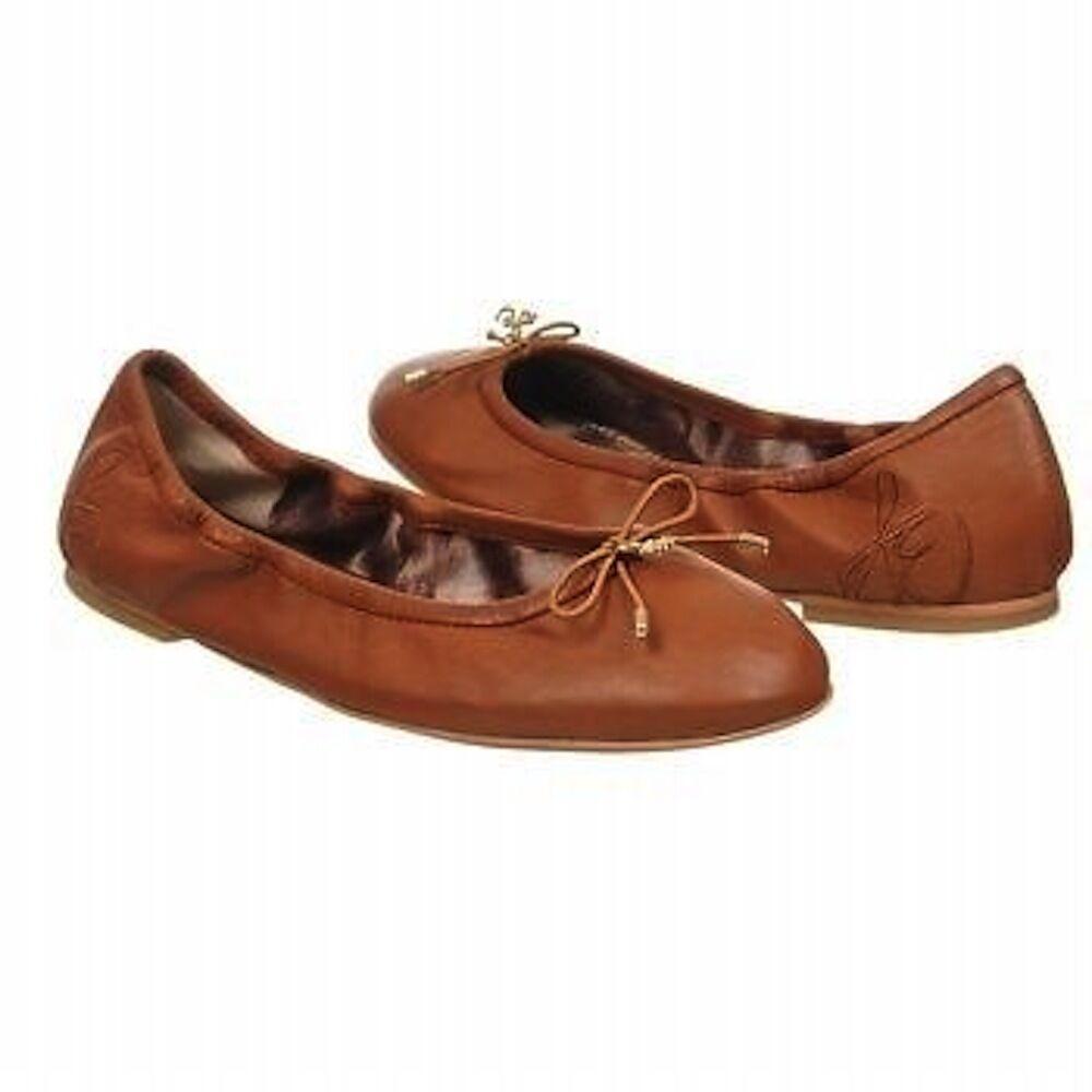 Sam Edelman Felicia Ballet Flat Saddle Chocolate marron Leather logo charm NEW