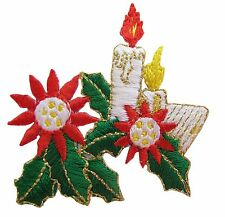 #3145 Christmas Red Candle w//Golden Candlelight Embroidery Applique Patch
