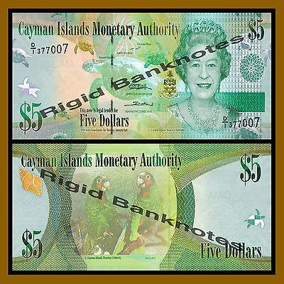 2010 P-39 Queen Elizabeth II Sea Turtle Lovebirds Unc Cayman Islands 5 Dollars