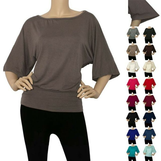 IRON PUPPY Women Dolman Half Wide Sleeve Slouchy Top Loose Draped-USA (S~3XL)
