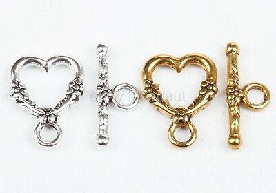 Wholesale 20sets Antique Heart Shaped Ring Hook Toggle Clasp Findings