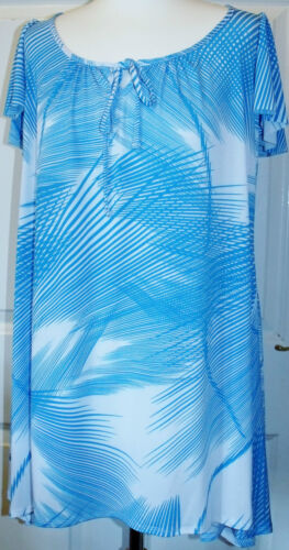 NEW MARINA KANEVA BLUE /& WHITE DIPPED HEM TUNIC ~ TOP 16 18 20 22//24*