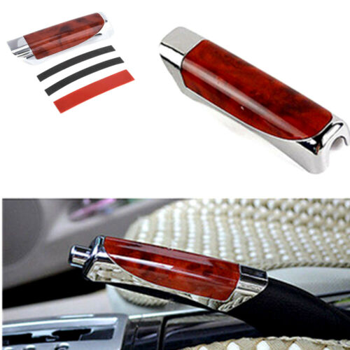 Universal Red Wood Hand Brake Protector Decor Cover Carbon Fiber Car Accessory