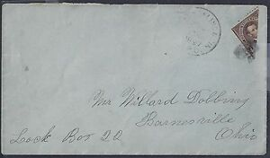 US 1897 Sc 261 4¢ BISECT COMMERCIALLY USED ON COVER RPO CANCEL TO BARNESVILLE OH