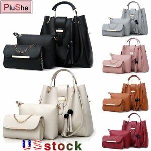 3Pcs/Set Women Lady PU Leather Handbag Satchel Messenger Purse Tote Shoulder Bag
