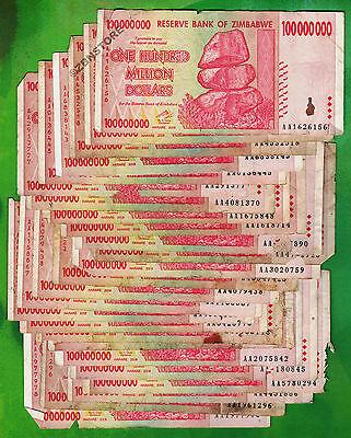 100 Million Zimbabwe Dollars x 25 Banknotes AA 2008 ¼ Bundle *Damaged Condition*