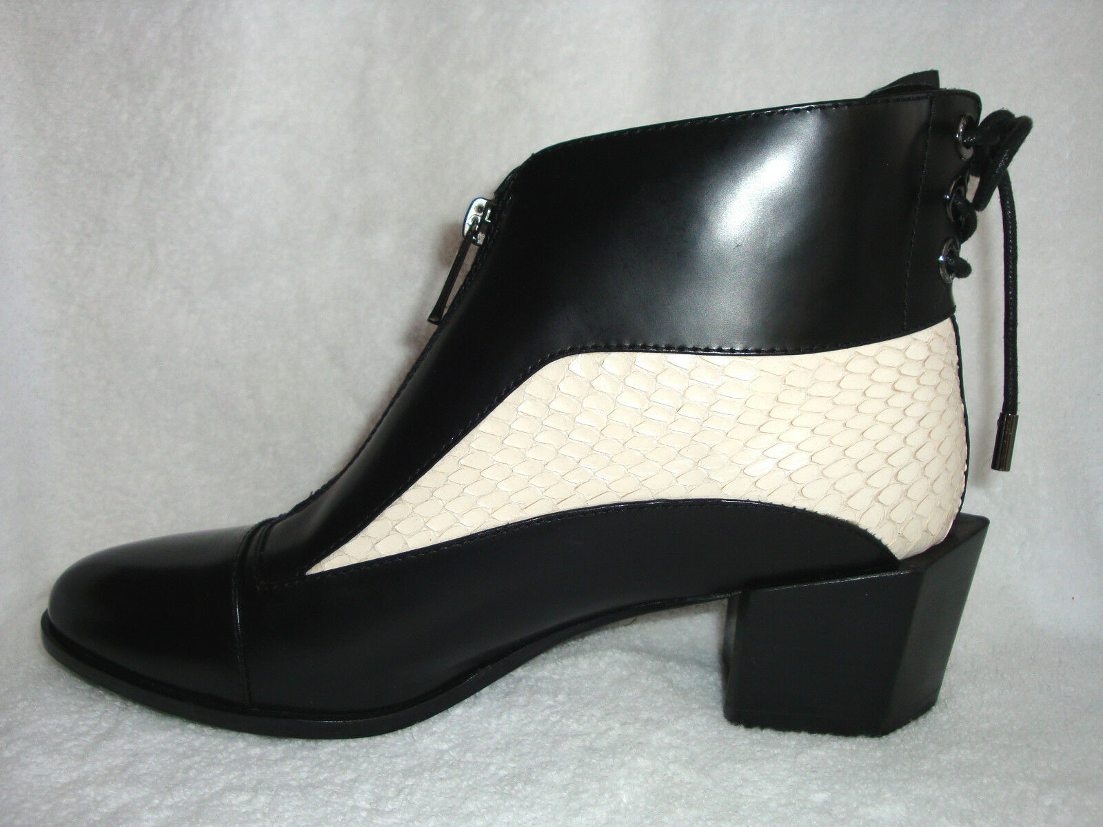 H Williams Black Leather w White Snakeskin Snakeskin Snakeskin Ankle Boots Hexagon Medium Heels 40 M 96080f
