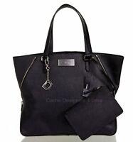 New DKNY Black Saffiano Leather Large Zip Tote/Shopper Travel Handbag