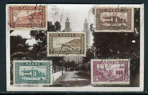 AgréAble Maroc - Affranchissement De Casablanca Sur Carte Postale En 1939 Doux Et AntidéRapant