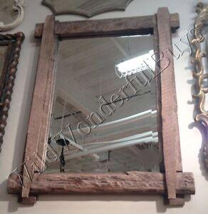 railroad tie wall mirror 39 quot distressed walnut wood