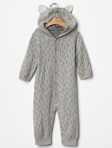 645c9a3b82d GAP Baby Boy Size 0-3 Months Gray Wolf Ear One-Piece Sweater Romper ...